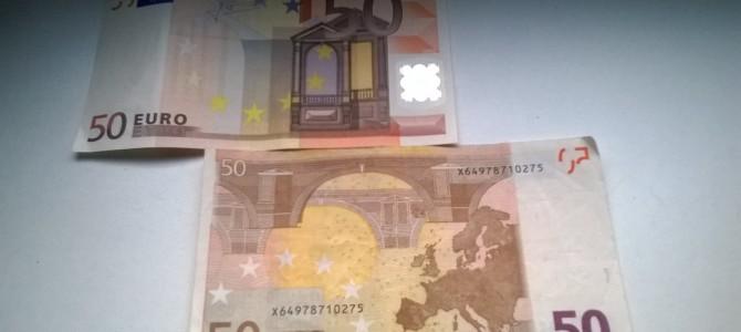 Saugokitės padirbtų eurų