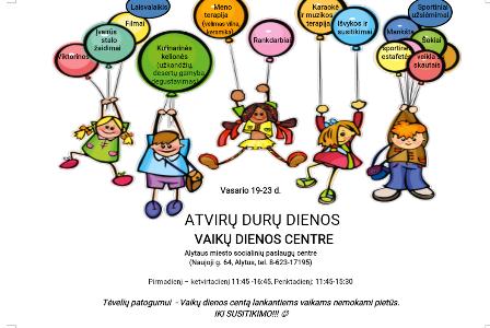 Atvirų durų dienos AMSPC vaikų dienos centre