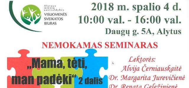 Autizmo spektro sutrikimų turinčių vaikų tėveliai kviečiami į seminarą