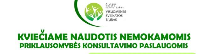 Alytaus miesto savivaldybės visuomenės sveikatos biuras kviečia naudotis nemokamomis priklausomybės konsultavimo paslaugomis