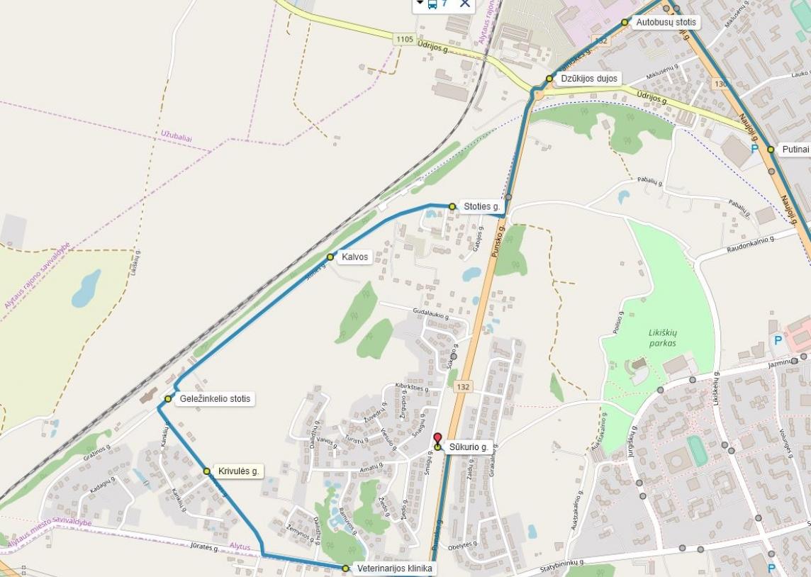 Krivulės g. autobuso maršrutas NR7